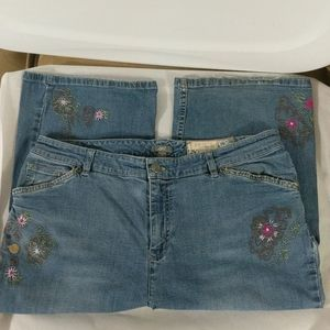 J Jill ReCrafted Embroidered Straight Leg - sz 16P